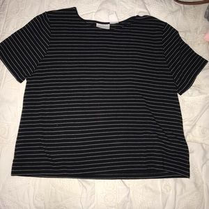 Knit Black and White Striped Shirt